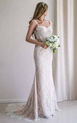 Illusion Sleeve Satin Lace Backless Wedding Dress ...