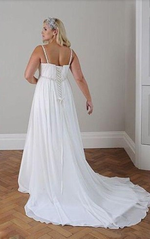 Simple Beach Wedding Dresses for Pluse Size 32