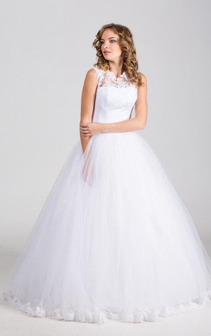High Neck Tulle Ball Gown With Satin Bow Sash and Lace Embellishment