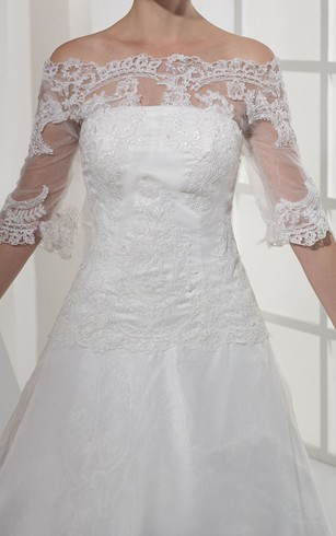 Intricate Off-The-Shoulder Half-Sleeve A-Line Dress With Appliques