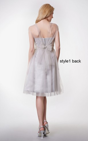 Convertible Cap Sleeve Ruched Short Tulle Dress With Pleats