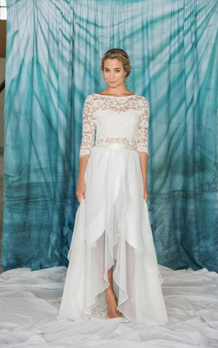 Two-Piece Top Wedding Gown | Crop Bridal Dress - Dorris Wedding