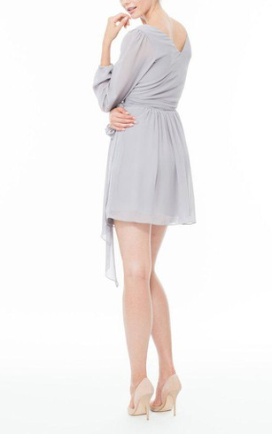 Long Sleeve V-neck Chiffon Short Dress with Bow