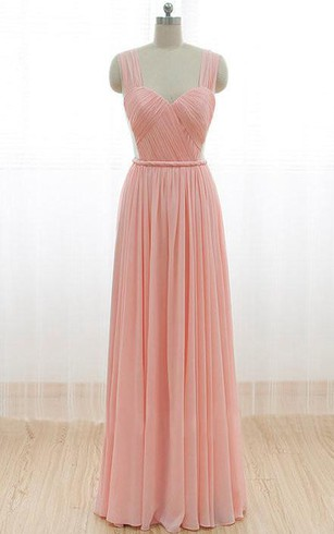 Floor Length Straps Pleats Chiffon Dress With V Back