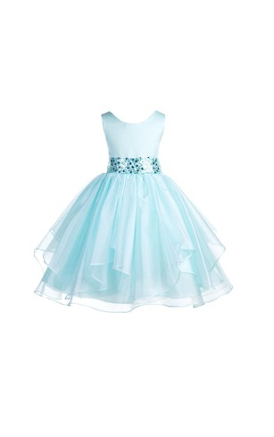Scoop Neck Sleeveless Layered Organza Ball Gown With Sequined Sash