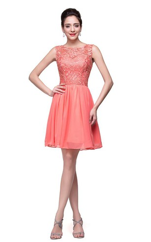 Lovely Lace Sleeveless Hoemcoming Dress 2016 Short Chiffon