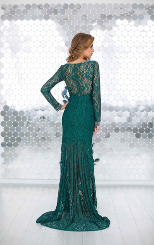 Sheath Floor-Length Jewel Long Sleeve Lace Beading Pleats Illusion Dress