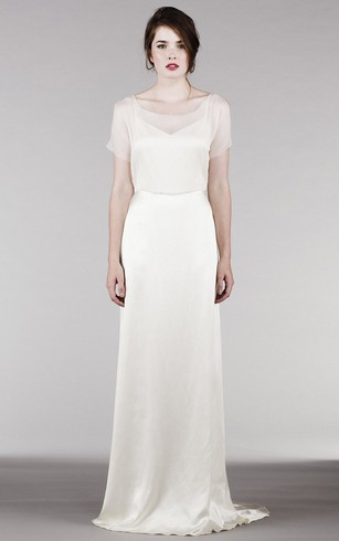 Sheath Poet Sleeve Maxi Square Neck Satin Wedding Dress With Keyhole