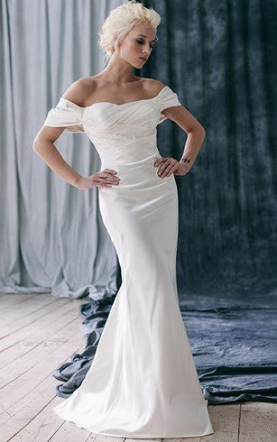 Cheap Off Shoulder Wedding Dress With Sleeves | Strapless Shoulder ...