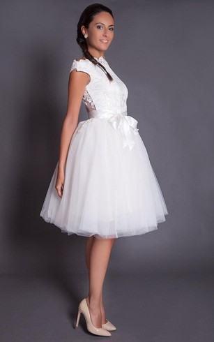 High Neck Cap Sleeve Knee Length A-Line Lace and Tulle Dress With Illusion Back