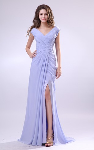 V Neck Chiffon Pleated Dress With Criss Cross Ruching And Front Splitting
