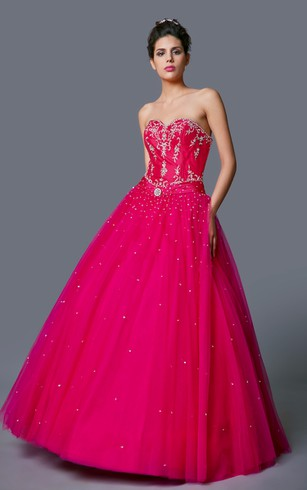 Royal Sweetheart Beaded Layered Silky Taffeta Quinceanera Ball Gown