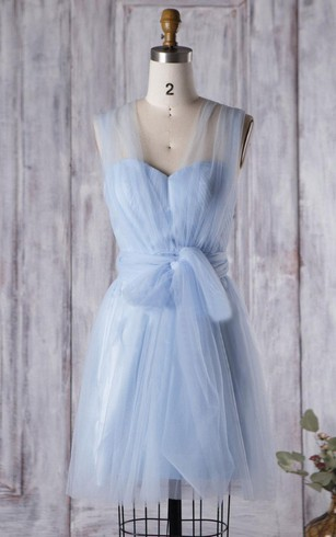 Sweet A-line Tulle Knee Length Dress With Straps and Sash