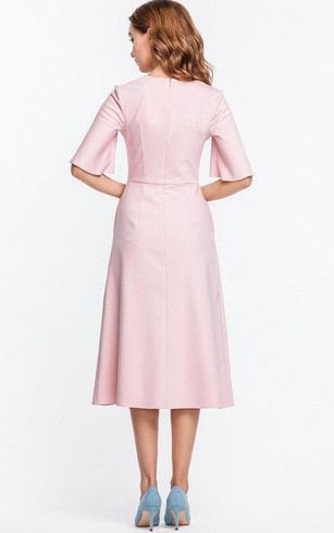 V Neck Bell Sleeve A-line Satin Knee Length Dress