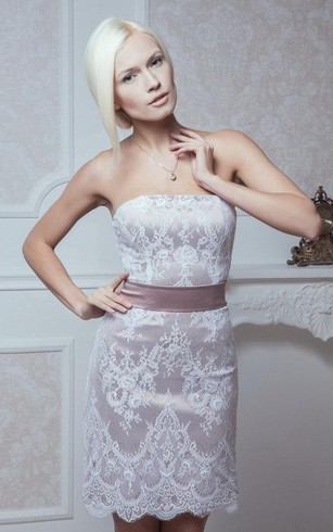 Sleeveless Column Lace Short Dress With Satin Bow Sash and Lace Up Back