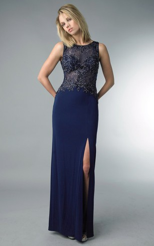 Sheath Floor-length High Neck Sleeveless Jersey Zipper Dress