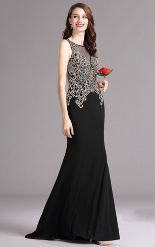Sheath Floor Length Jewel Sleeveless Jersey Beading Keyhole Dress