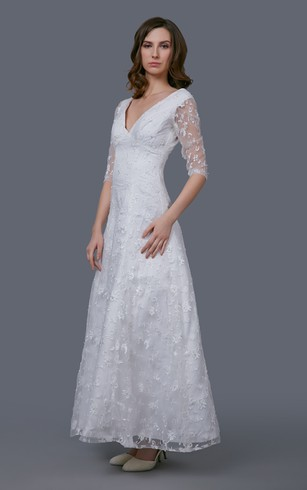 Cheap 3 4 Long Sleeved Wedding Gown Bridal Dress With Half