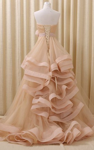 Ball Gown Maxi Straps Sleeveless Bell Bow Flower Embroidery Pick Up Flower Court Train Lace-Up Back Straps Tulle Lace Dress