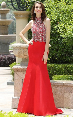 Mermaid Floor-Length Sweep Jewel Sleeveless Taffeta Beading Backless Dress
