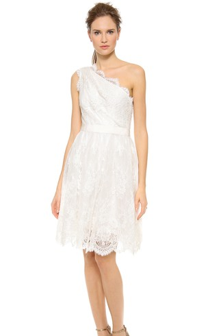 Short One-shoulder A-line Lace Dress With Satin Sash