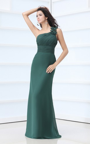 One-Shoulder Chiffon Dress With Ruching and Flower