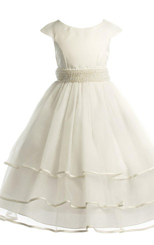Cap-sleeved Scoop-neck A-line Tiered Organza Dress With Beadings
