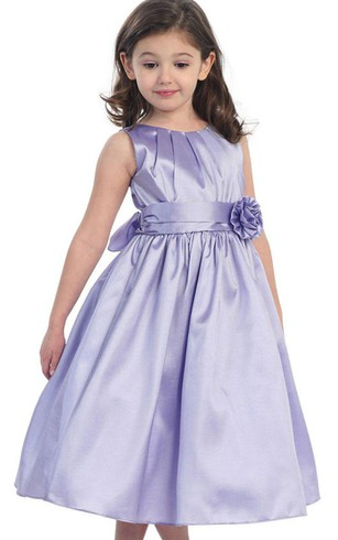 Sleeveless A-line Pleated Dress With Flower and Bow