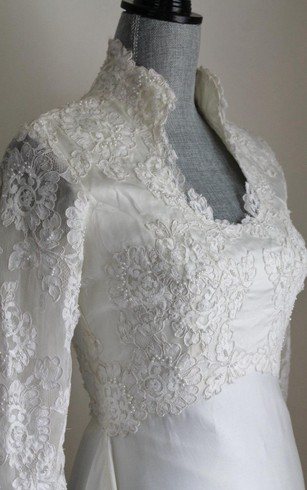 Long Sleeve Lace and Satin Dress With Queen Anne Neckline