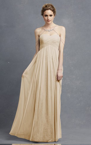 Long Sweetheart Tulle Modern Dress With Crisscross Ruching