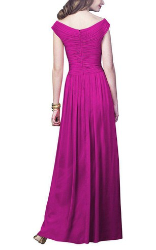Off-the-shoulder Ruched Long Bridesmaid Dress with Zipper Back