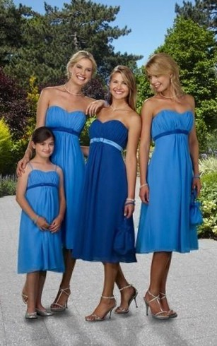 A Line Sweetheart Belt Sleeveless Knee Length Chiffon Bridesmaid Dresses