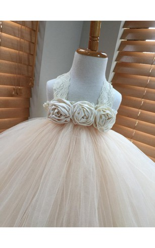 Halter Floral Bodice Empire Tulle Ball Gown With Pleats
