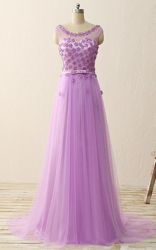 Long Cap Flower A-line Tulle Dress with Illusion Style