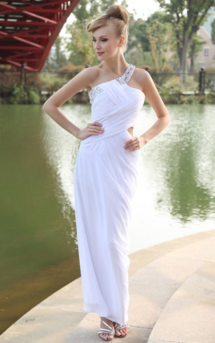 One-Shoulder Chiffon Body-Fitting Dress With Beaded Strap