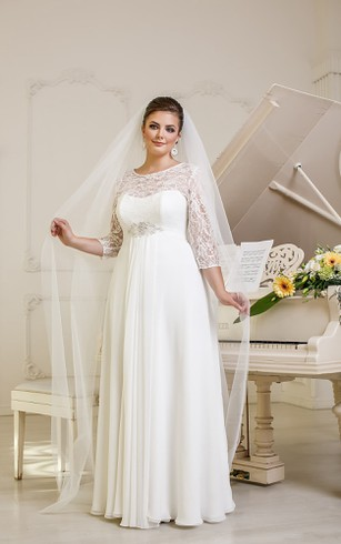A-Line Long Jewel-Neck Illusion-Sleeve Empire Corset-Back Chiffon Dress With Beading And Pleatings