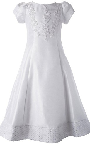 Short-sleeved Bateau-neck A-line Dress With Appliques