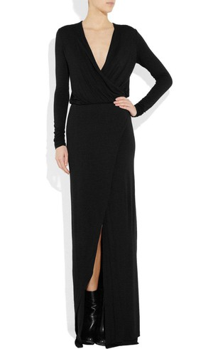 Deep V-neck Long Sleeve Sheath Long Jersey Dress With Belt and Split