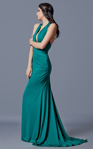 Sexy Deep V-neck Backless Long Jersey Dress