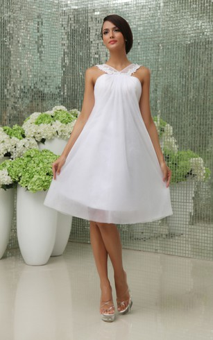 Cute Sleeveless Short Dress With Chiffon Overlay