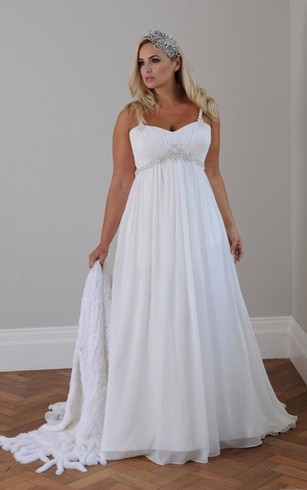 Affordable plus figure wedding gowns cheap large size bridals a line short spaghetti straps sleeveless bell pleats beading appliques brush train lace up junglespirit