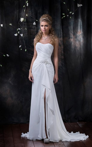 front slit lace wedding dress