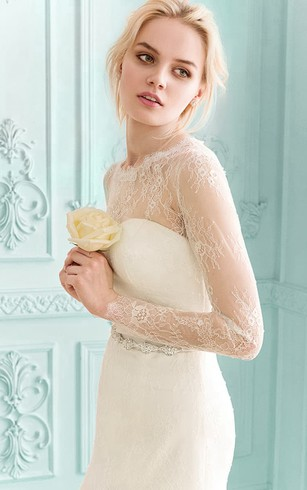 Floor-length Illusion Long Sleeve Lace Dress With Crystal Detailing