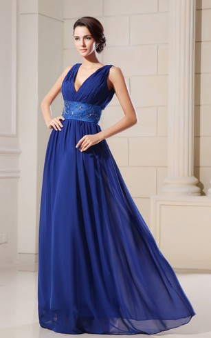 Graceful Low V-Neck Empire Chiffon A-Line Gown Has Beading Waist