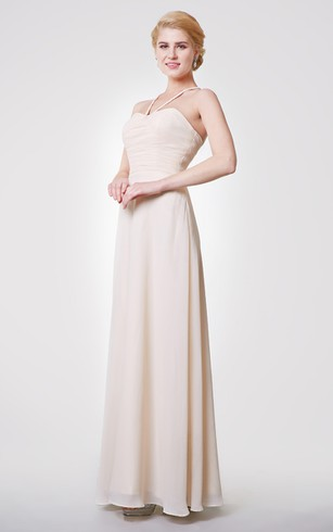 Graceful A-line Chiffon Long Dress With Ruched Waist