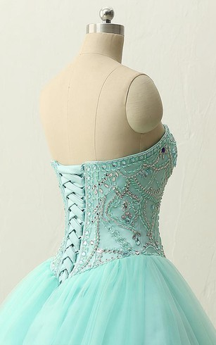 Long Straps Sweetheart Beading Brush Train Straps Tulle Lace Satin Dress