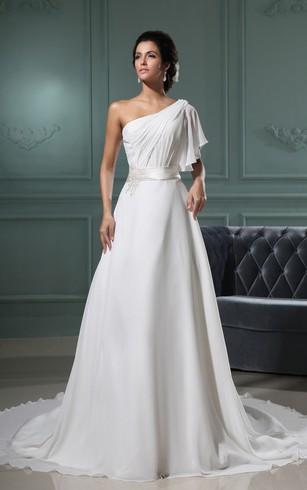 Chiffon One Shoulder Wedding Dress