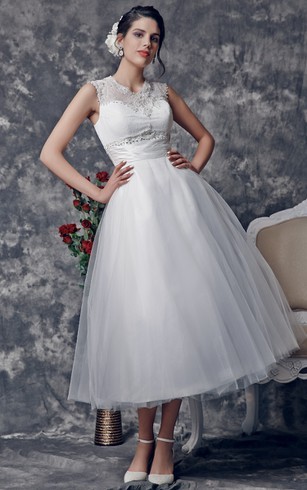 Stunning Beaded Illusion Neckline Tea Length Dress With Lace Embellished Back