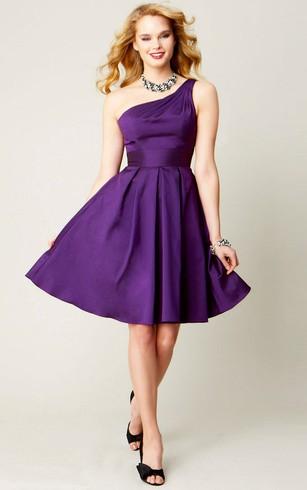 Short One Shoulder Sleeveless Satin Chiffon Bridesmaid Dress
