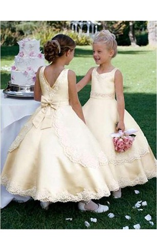 Yellow flower girl dresses flower girl dresses shop by color ball gown scoop sleeveless bowknot ankle length satin flower girl dresses mightylinksfo